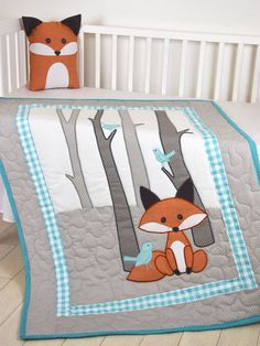 Fox Blanket, Fox Nursery Quilt, Baby Boy Quilt, Boy Crib Bedding, Forest Blanket, Cutom Made  I always liked the nurseries, what inspired by: