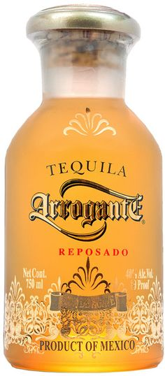Get confident! Arrogante Añejo 100%  Agave Tequila. Product of Mexico