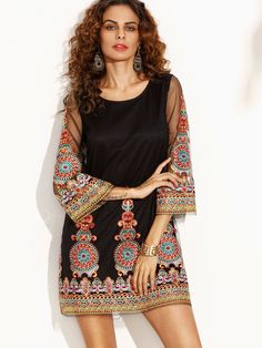 Black Embroidered Tape Detail Three Quarter Sleeve Dress