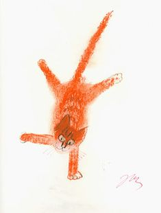Józef Wilkon - Kot by laura Crazy Cat Lady, Crazy Cats, Landscape Illustration, Illustration Art, Cat Illustrations, The Night Cat, Orange Cats, Ginger Cats, Here Kitty Kitty