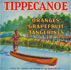Orlando Florida Tippecanoe Orange Citrus Fruit Crate Label Print | eBay