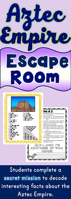 The Aztec Civilization Escape Room will take students on a secret mission around the classroom! This escape room has students decode interesting facts about the Aztec Empire. This is the perfect resource to introduce the Aztecs and Hernan Cortes. 6th Grade Social Studies, Social Studies Activities, History Activities, Teaching Social Studies, Teaching History, Teaching Resources, Middle School Activities, Classroom Activities, Classroom Ideas