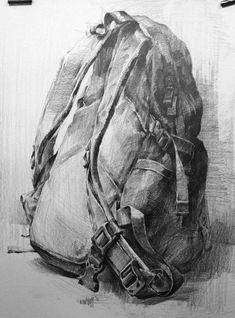 still life painting of backpack Value Drawing, Ap Drawing, Object Drawing, Still Life Drawing, Drawing Sketches, Pencil Drawings, Still Life Sketch, Fabric Drawing, Academic Drawing