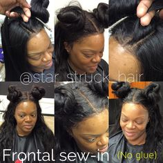 Frontal sew-in no glue, all stitch ((contact for more info)) Sew In Hairstyles, Frontal Hairstyles, Lace Front Sew In, Sew In Wig, Frontals Sew In, Virgin Hair Bundles, Natural Hair Styles, Long Hair Styles, Lace Frontal