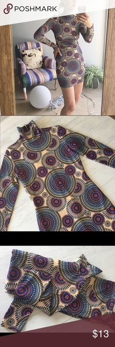 70s Deco High neck Dress Most fun dress I ever wore!🤗 Excellent condition..unique long sleeved, awesome pattern!..my favorite part is the high-neck through😍 This fits like a classic size 4 but also has a fair amount of stretch like a bodycon dress...W14, H 15.5, Sleeve (from shoulder) 25in Dresses
