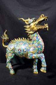 Emperors Antique: A Magnificent Cloisonne Enamel Qilin For Sale