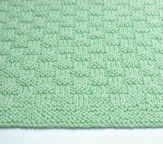 Baby Blanket Hand Knit Basketweave Mint by SticksNStonesGifts