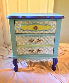 CustomHand stenciled unique nightstand  Boho by BohoBeachBliss, $150.00