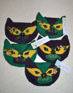 Mardi Gras Kitty coin saver/purse by LaTailleuse on Etsy.. handmade with felted wool sweater, decorated with applique, beads, buttons and sequins