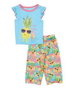Look what I found on #zulily! Blue Pineapple 'Sweet Dreams' Pajama Set - Toddler & Girls #zulilyfinds