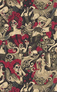 Alexander Henry Las Elegantes Sugar Skulls Fabric By the Yard TheFabricEdge Glitch Wallpaper, Skull Wallpaper, Graphic Wallpaper, Screen Wallpaper, Cool Wallpaper, Wallpaper Backgrounds, Iphone Wallpaper Kawaii, Skull Fabric, Skull Art