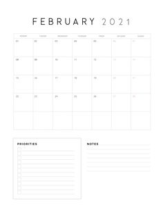 2021 Calendar With Priorities And Notes - World of Printables February Calendar, Calendar Notes, Weekly Calendar, Print Calendar, Kids Calendar, Calendar Design, 2021 Calendar, Bullet Journal School, Printable Calendar Template