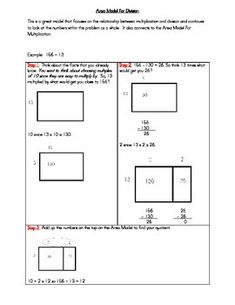 Here are 6 problems where students have to use the Area Model to solve ...