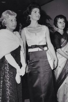 Jackie Kennedy with Miss Humphrey and Mrs. Indira Gandhi at a Nehru exhibit in New York City, January 28, 1965