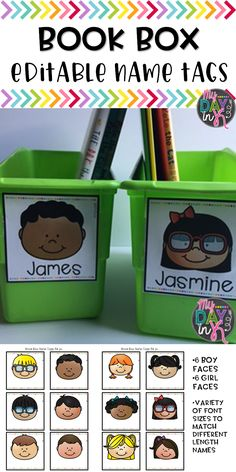 Editable Book Box Name Tags to help personalize student book boxes in the classroom.