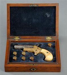 COLT pistol Model n°3 THUER Derringer cal. 41 in wooden box (1)
