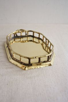 Vintage Small Rectangular Brass Faux Style Bamboo by vintageindy, $28.00