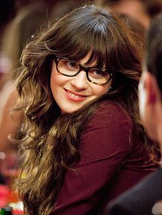 Zooey Deschanel, so cute in dark tortoiseshell rounded rectangular frames