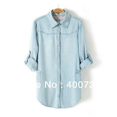 NEW High Street Fashion Beautiful Women's Vintage Blue Denim Cotton Shirts Blouse Tops B046 -in Denim Clothings from Apparel & Accessories o...