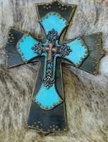 Looks more work than what it is. Basic wooden cross with painted aqua cross laid over with rustic painted edges and some rustic bling glued to finish it up.
