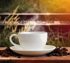 Coffee cup with outdoor background
