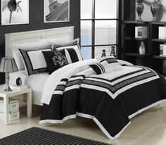 Chic Home Venice 7 Piece Cotton Comforter Set Hotel Collection Embroidery Design Bedding Black Cotton Bedding Sets, Comforter Sets, Bed Design, House Design, Embroidered Bedding, Black And White Theme, Bedroom Sets, Bedrooms, Black Bedding