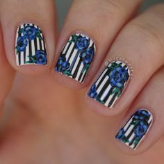 Striped nails with roses, love the floral art!