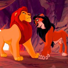"""Brothers Mufasa (James Earl Jones) & Scar (Jeremy Irons) from """"The Lion King"""""""