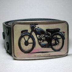 Mens Belt Buckle Vintage Triumph Motorcycle by decembermoondesign, $29.00