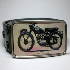 Mens Belt Buckle Vintage Triumph Motorcycle