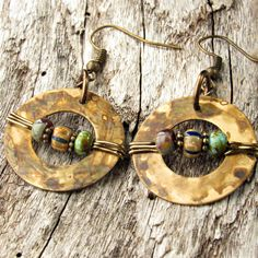 "Czech Brass Earring African Brass Earring by IsleofSkyeJewelry Use the ""new"" beads I just got that are ""rustic glass"""