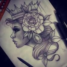 Neo traditional tattoo sketch - woman with flower, crown and jewels