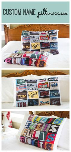 These personalized pillow cases with names in photos of signs or sign letters make a fun decorating idea for the bedroom.