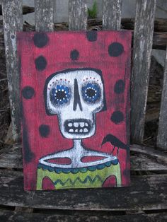 Day of The Dead Handpainted Blank Journal by KimberlyBarnesArt, $10.00