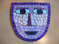 mosaic masks using cardboard base