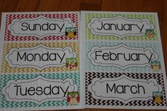 days of the week and months of the year with an owl theme Have for station / put in order