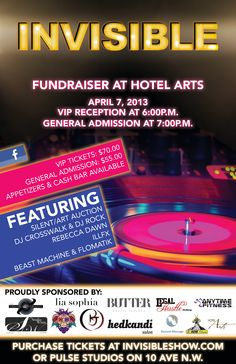 Invisible fundraiser poster Beast Machines, Vip Tickets, Fundraising, Dj, Auction, Poster, Posters, Billboard