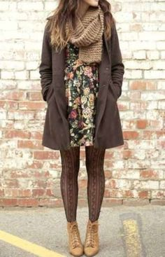 jacket long jacket brown fall pea coat knit knit scarf tan dress floral black dress black floral dress tights tan boots ankle boots boots sc...