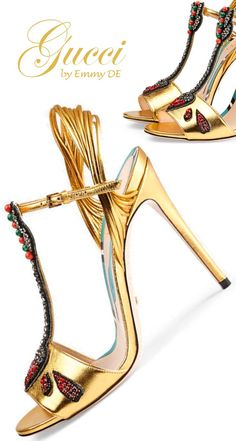 gucci, #sandals, golden, christmas, new year's eve, designer, glamorous, high #heels, #shoes, italian,