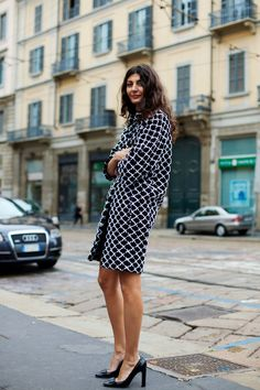 The coat with the pattern and perfect loose fit, the heels with 4 subtly perfect details (toe shape, discreet embellishment, heel width and sexy-chic heel height)..  Giovanna Battaglia is effortlessly impeccable