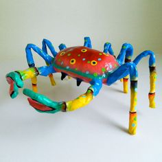 Blue Caribbean Crab paper mache by PaperTurtles on Etsy, $30.00