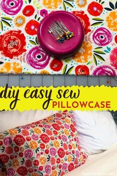 Itching to use your sewing skills to update your bedroom decor? I love this easy sew pillowcase!  This super easy yet cute floral Pillowcase is a great beginner sewing project you can do at home starting now. DIY Easy Sew Pillowcase is the perfect sewing tutorial for a beginner.   #EasySewingProjects #DIYPillowcaseTutorial