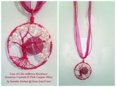 Tree of Life Necklace w/ Moon & genuine Crystals Adjustable 16in-18in, $35