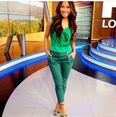 Green on Green ensemble. Can't get enough  of the matchy- matchy.   Wearer, Julie Cheng