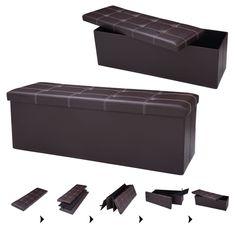 "45""x15""x15"" Large Folding Storage Faux Leather Ottoman Pouffe Box Stool"
