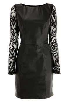 LACE SLEEVE LEATHER DRESS