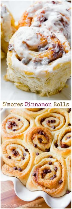 Fluffy & soft s'mores cinnamon rolls covered in a simple marshmallow frosting. These rolls use my quick sweet roll dough – only 1 rise!