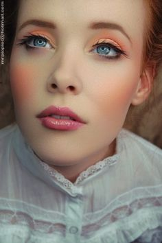 pretty peach makeup. The lashes are not really my fav