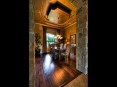 Love the interior stone and drop pendant ceiling | Jimmy Jacobs Custom Homes | San Antonio Home Builder