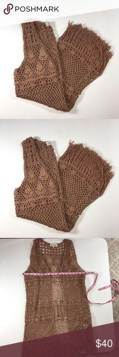 Rare Pink Rose Crochet Fringe Vest -1D Rare Pink Rose Crochet Fringe Vest  EUC. Like new  Size XL   Camel color Pink Rose Jackets & Coats Vests